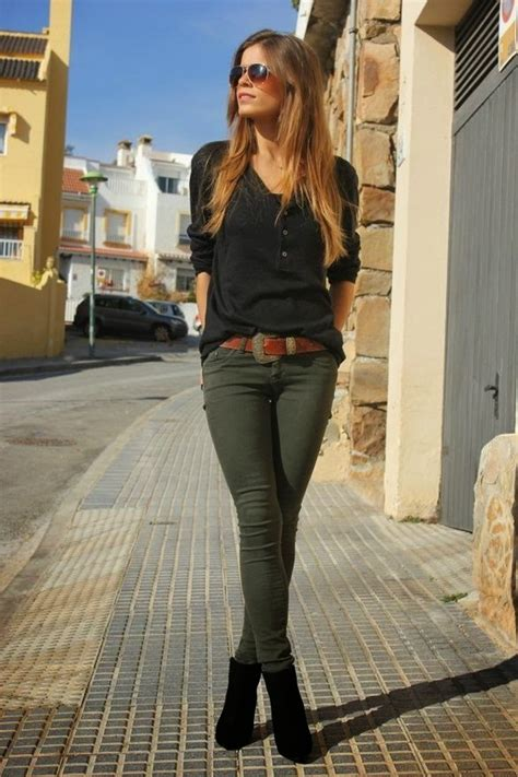 Street style Olive green skinny pants My Passions 98