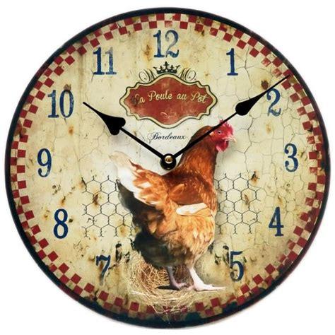 d馗o murale cuisine pendule horloge murale la poule au pot bordeaux en bois métal style publicitaire ancien coq rétro vintage cuisine class déco achat vente