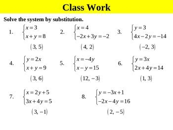 holt algebra 6 2a solving systems by substitution isolated ppt worksheet