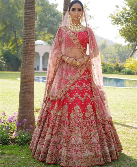 sku  cherry red designer bridal lehenga choli
