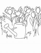 Coloring Spring Clipart Watering Pages Tulip Printable Tulips Garden Clip Colouring Easter Showers Drawing Flower Cliparts Flowers April Colour Line sketch template