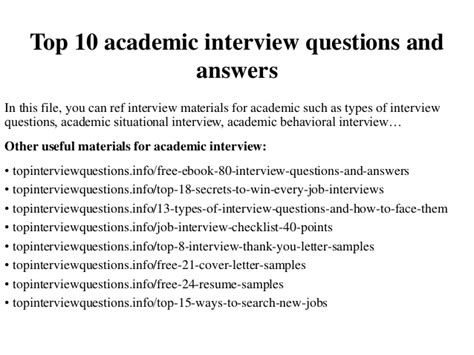 top  academic interview questions  answers