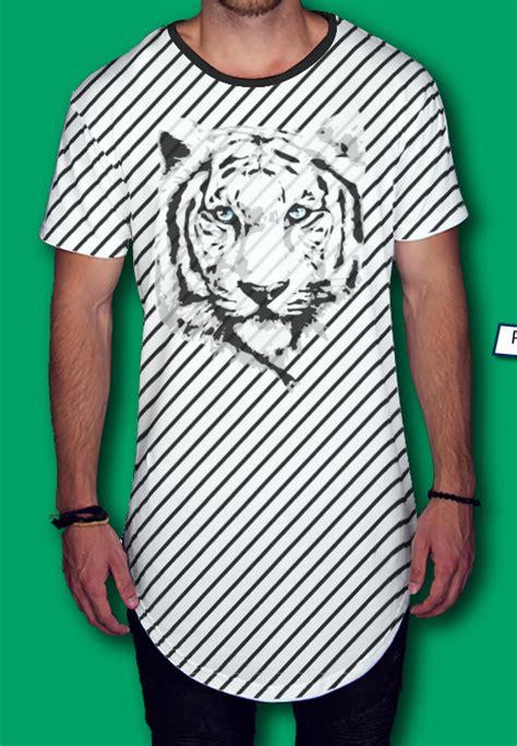 Playera tipo swag con estampado rayas tigre blanco. Da ...
