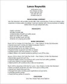 resume for working with children professional club attendant templates to showcase your talent myperfectresume