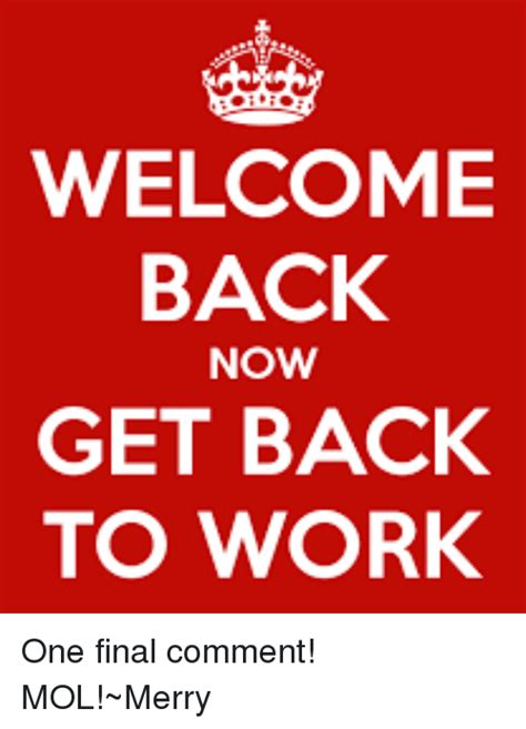 Get Back To Work Meme - welcome back now get back to work one final comment mol merry meme on me me