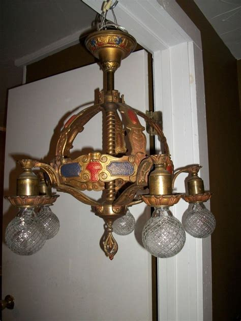 Vintage Chandelier by Deco Antique Polychrome Chandelier Light