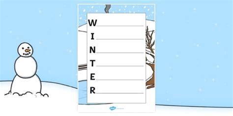 Winter Acrostic Poem Template