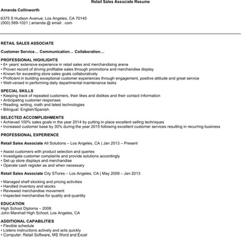 What Is An Electronic Version Of Resume by Sales Associate Resume Templates For Free