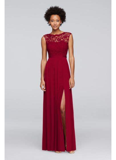 long bridesmaid dress  lace bodice davids bridal