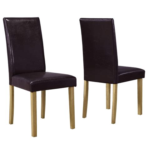 Pair Of Brown Faux Leather Dining Chairs Solid Oak Ebay