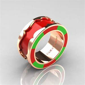 caravaggio 14k yellow gold red and lime green italian With lime green wedding rings