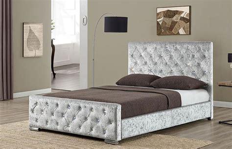silver bed frame new berkeley crushed velvet fabric bed 5212