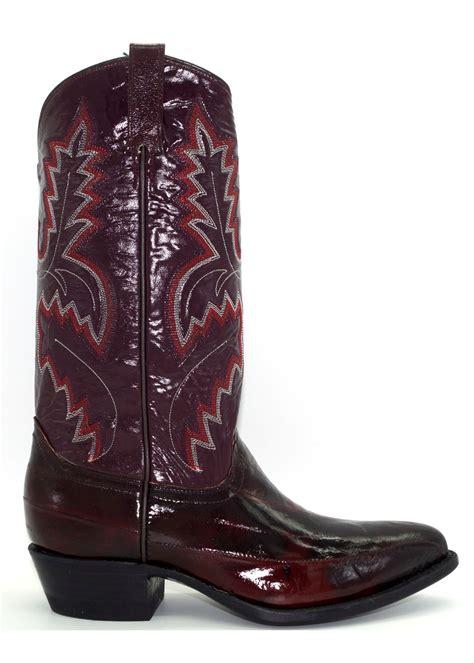 mens black cherry eel skin boots  circle  western wear