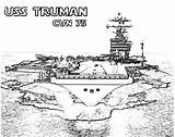 Coloring Carrier Aircraft Pages Ship Cvn Truman Navy Take Plane Attack Coloringsky sketch template
