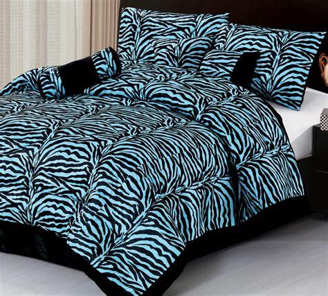 7pc new safarina blue zebra faux fur comforter set king