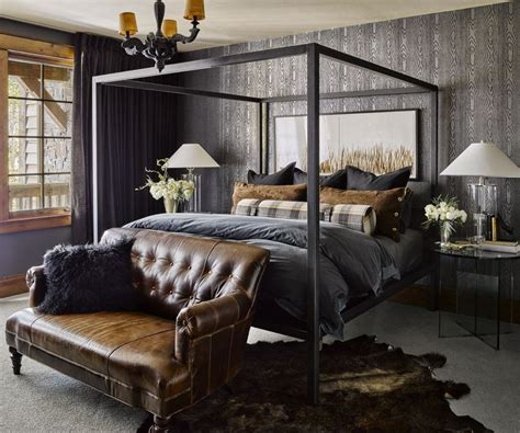 Bedroom Decorating Ideas Masculine by Masculine Bedroom With Charcoal And Leather Bedroom In