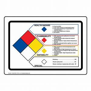 Nfpa 704 health flammability reactivity sign hazchem 14702 for Chemical labeling system
