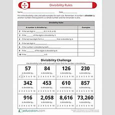 Learn About Divisibility Rules  Worksheet Educationcom