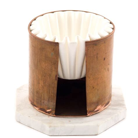 Cone (round top gradually tapering down to the bottom) and basket (circular holder/filter with a flat bottom). Round Copper Cup Filter Paper Holder | Coffee filter holder, Copper cups, Diy coffee
