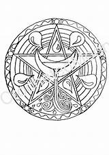 Pagan Coloring Pentacle Water Printable Altar Pages Wiccan Digital Magick Witch Etsy sketch template