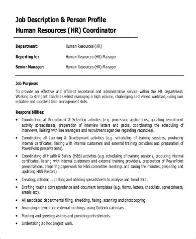 sample hr coordinator job description templates