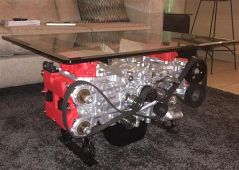 Crashed Into A Coffee Table by Converting A Wrecked Car Into A Boxer Engine Coffee Table