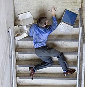 Bengawan Solo: fat person falling down stairs