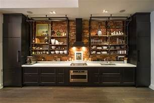 kitchen island with open shelves industrial kitchen design creates a great loft style