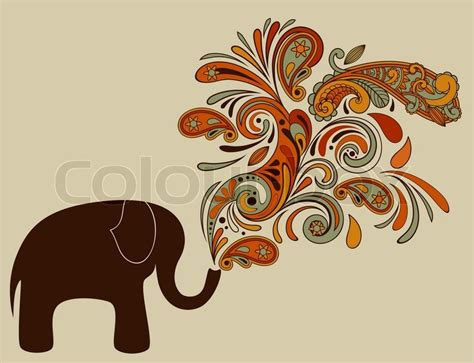 elephant stencil trunk up elephant with floral pattern coming from his trunk stock