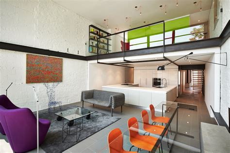 contemporary row house  open concept living