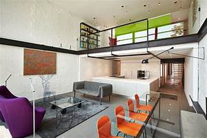 Contemporary, Row, House, With, Open, Concept, Living, And