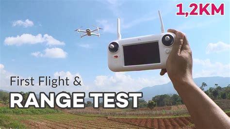 xiaomi fimi  terbang pertama  range test km youtube