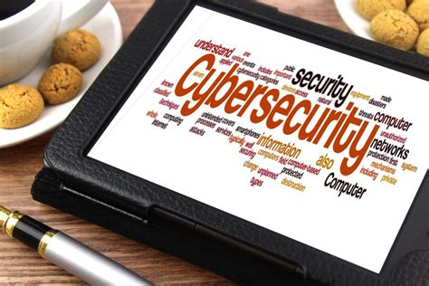 Cybersecurity - Word Cloud on a Tablet