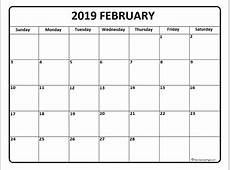 February calendar 2019 printable and free blank calendar
