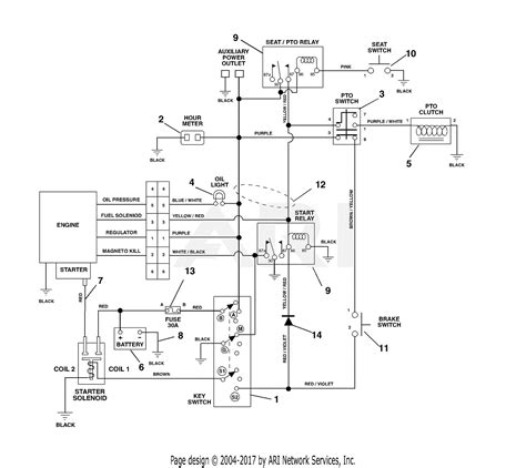Electrical Wiring Diagram Light Deck by Ariens 992028 030000 Zoom 2050 20hp B S 50 Quot Deck