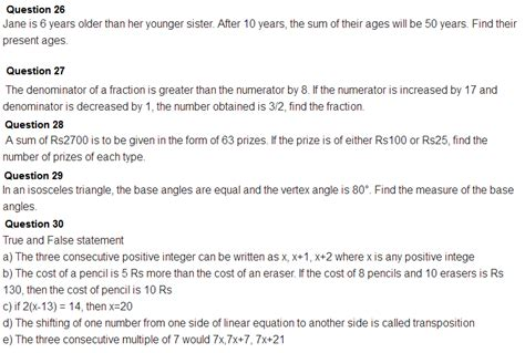 important questions for class 8 maths chapter 2 linear