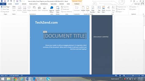 Title Page Template Word 2013 by Add Cover Page In Ms Word 2013 Documents How To
