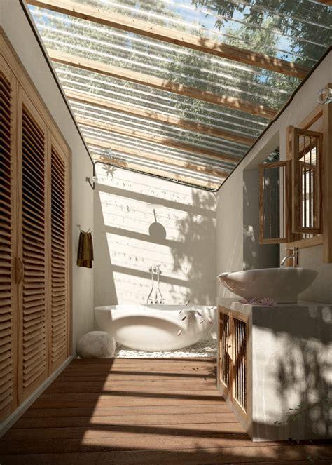modernes kleines badezimmer mit dachschraege und glasdach