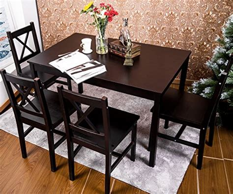 4 person kitchen table merax 5 pc solid wood dining set 4 person table and chairs