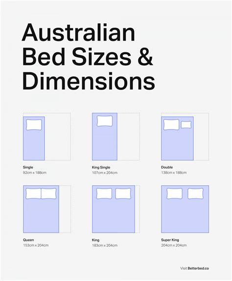 australian bed sizes mattress dimensions chart