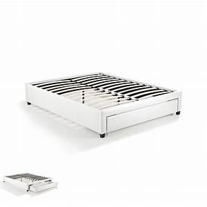 Cadre Lit 140x190 : cadre lit 140x190 avec tiroir blanc drawy maison et styles ~ Dallasstarsshop.com Idées de Décoration