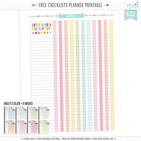 Free Printable Checklists Planner