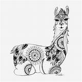 Llama Coloring Mandala Adult Zentangle Sitting Colouring Colour Designed Books Drawing Alpaca Printable Sheets Unicorn Illustrations Unicorns Animal Completely Drawn sketch template