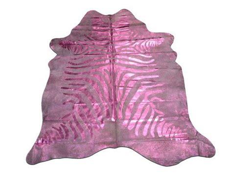 Metallic Zebra Cowhide Rug by H 020 Zebra Cowhide Rug Pink Metallic Stripes Size 7 X 6