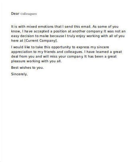 farewell emails  colleagues   word