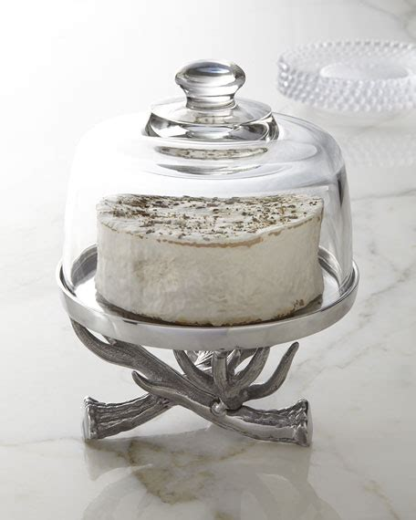 arthur court antler cake stand  glass dome