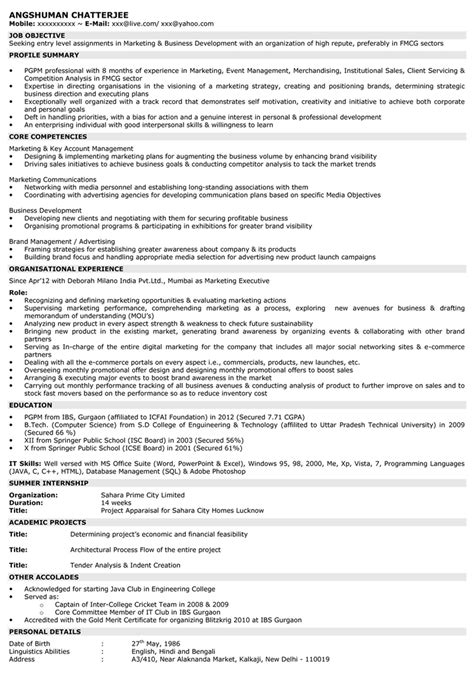 Resumes From Naukri by Marketing Resume Sle Sle Resume For Marketing Naukri