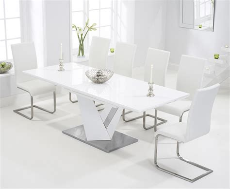 white dining table chairs harmony 160cm white high gloss extending dining table with
