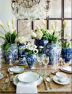 Blue and White wedding tablescape