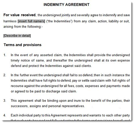 indemnity agreement indemnity contract